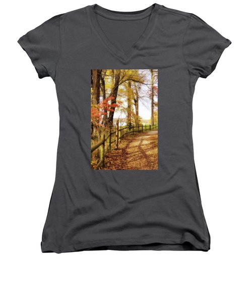 Women's V-Neck T-Shirt (Junior Cut) featuring the photograph Autumn Pathway by Jean Goodwin Brooks