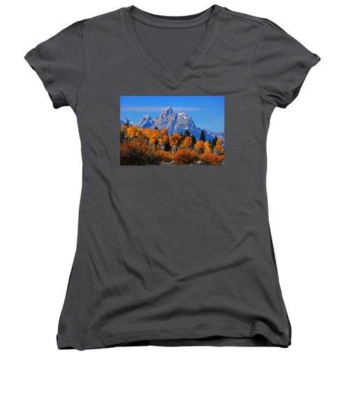 Autumn Peak Beneath The Peaks Women's V-Neck T-Shirt (Junior Cut) by Greg Norrell
