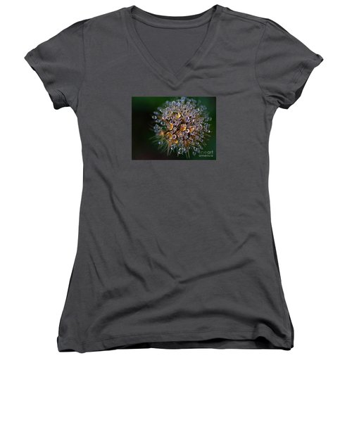 Women's V-Neck T-Shirt (Junior Cut) featuring the photograph Autumn Pearls by AmaS Art