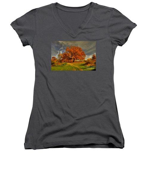 Autumn Picnic On The Hill Women's V-Neck