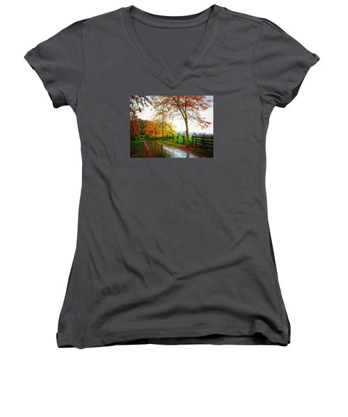 Autumn Rains Women's V-Neck (Athletic Fit)