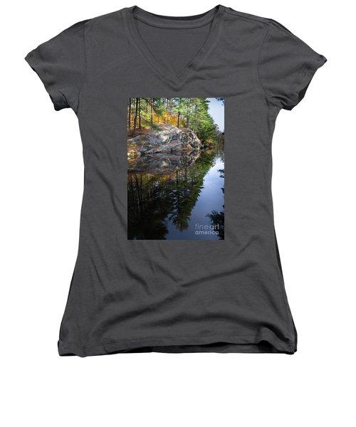 Autumn Reflections At Runaround Pond In Durham Maine  -20224 Women's V-Neck