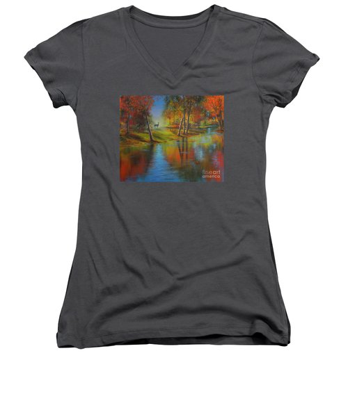 Autumn Reflections Women's V-Neck T-Shirt (Junior Cut) by Jeanette French
