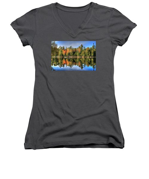 Women's V-Neck T-Shirt (Junior Cut) featuring the photograph Autumn Reflections Of Maine by Shelley Neff