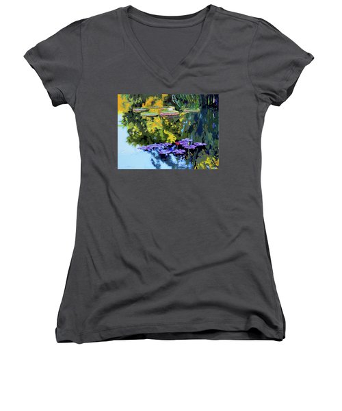 Autumn Reflections On The Pond Women's V-Neck T-Shirt