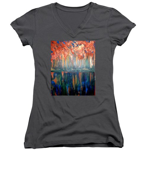 Women's V-Neck T-Shirt (Junior Cut) featuring the painting Autumn Reflections by Rae Chichilnitsky