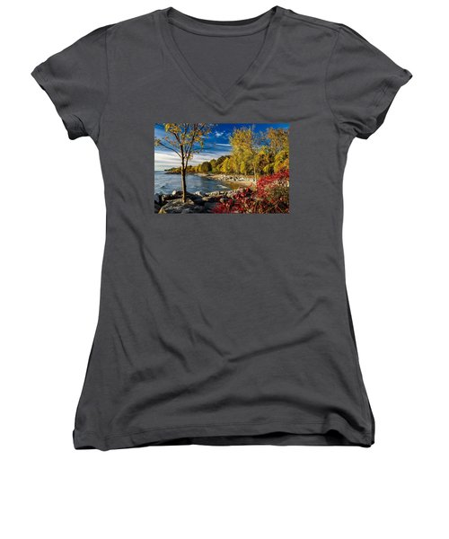 Autumn Scene Lake Ontario Canada Women's V-Neck