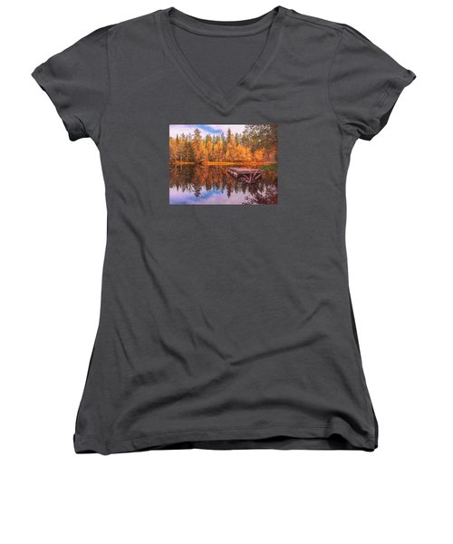 Women's V-Neck T-Shirt (Junior Cut) featuring the photograph Autumn Season  by Rose-Maries Pictures