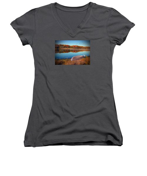 Autumn Serenade Women's V-Neck T-Shirt (Junior Cut) by Cedric Hampton