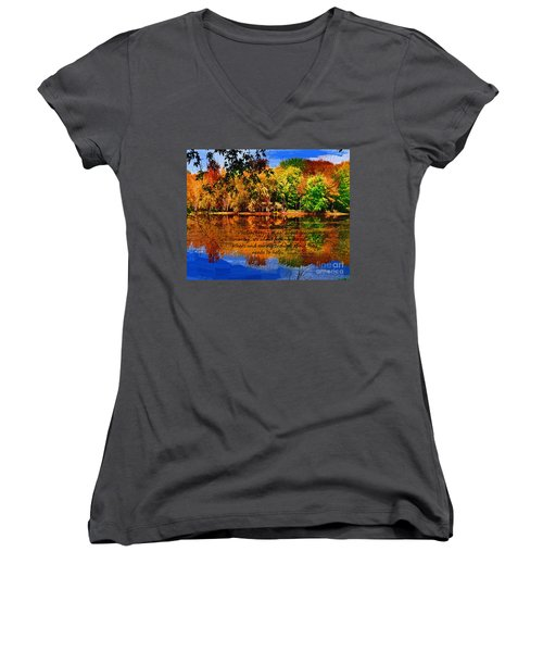 Autumn Serenity Philanthropy Painted Women's V-Neck T-Shirt (Junior Cut) by Diane E Berry