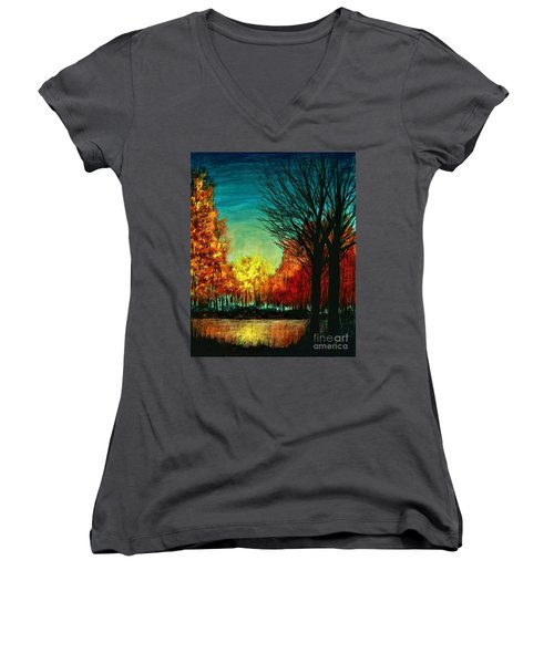 Autumn Silhouette  Women's V-Neck T-Shirt (Junior Cut)