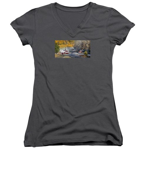 Women's V-Neck T-Shirt (Junior Cut) featuring the photograph Autumn Snow On Sugar Shack, Reading, Vt by Betty Denise