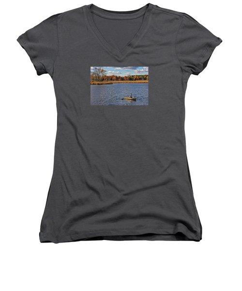 Autumn Solitude Women's V-Neck T-Shirt (Junior Cut) by Pat Cook