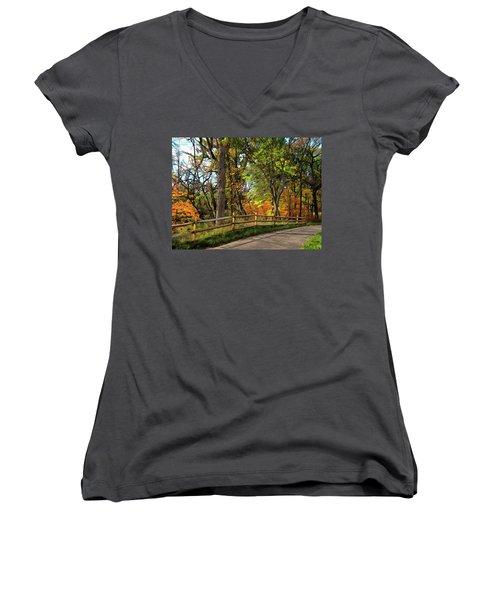 Autumn Song Women's V-Neck T-Shirt (Junior Cut) by Cedric Hampton