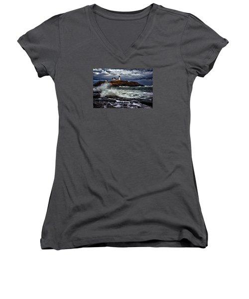 Autumn Storm At Cape Neddick Women's V-Neck T-Shirt (Junior Cut) by Rick Berk