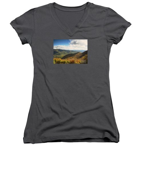 Autumn Storm Clouds Blue Ridge Parkway Women's V-Neck (Athletic Fit)