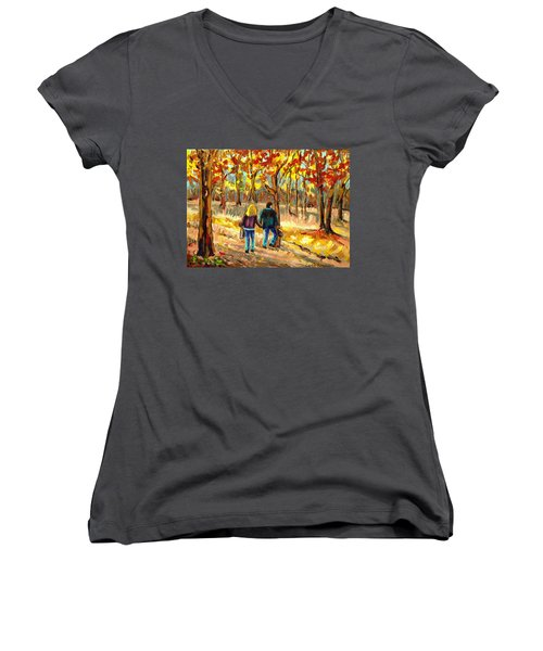 Autumn  Stroll On Mount Royal Women's V-Neck