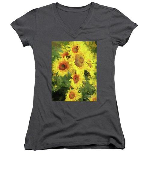 Autumn Sunflowers Women's V-Neck T-Shirt (Junior Cut) by Tina LeCour