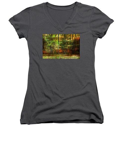 Autumn Sunset - In The Woods Women's V-Neck T-Shirt (Junior Cut) by Judy Palkimas