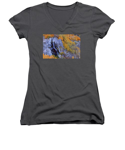 Autumn Surrounds Mist Falls In The Eastern Sierras Women's V-Neck (Athletic Fit)