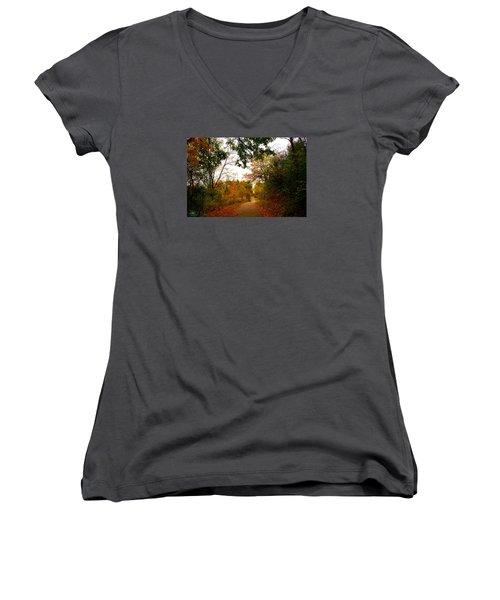 Women's V-Neck T-Shirt (Junior Cut) featuring the photograph Autumn Trail by Michael Rucker