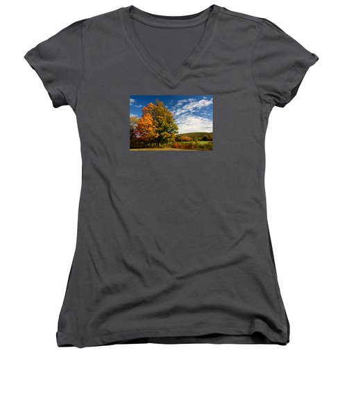 Women's V-Neck T-Shirt (Junior Cut) featuring the photograph Autumn Tree On The Windham Path by Nancy De Flon
