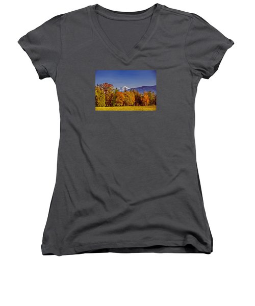 Autumn View Of Mt. Baker Women's V-Neck (Athletic Fit)