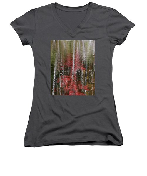 Women's V-Neck T-Shirt (Junior Cut) featuring the photograph Autumn Water Color by Susan Capuano