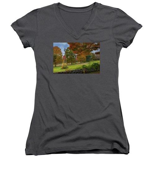 Women's V-Neck T-Shirt (Junior Cut) featuring the photograph Autumn Windmill by Bill Wakeley