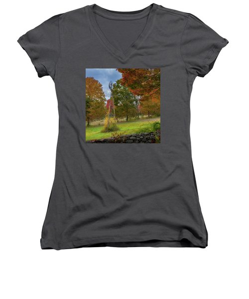 Women's V-Neck T-Shirt (Junior Cut) featuring the photograph Autumn Windmill Square by Bill Wakeley