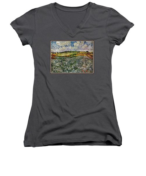Women's V-Neck T-Shirt (Junior Cut) featuring the painting Landscape Auvers28 by Pemaro