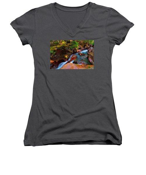 Avalanche Creek Women's V-Neck T-Shirt (Junior Cut) by Greg Norrell