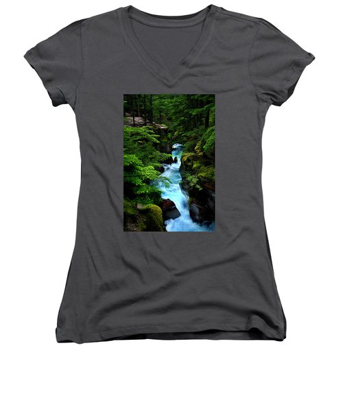 Avalanche Creek Waterfalls Women's V-Neck