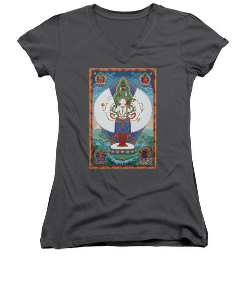 Avalokiteshvara Lord Of Compassion Women's V-Neck (Athletic Fit)