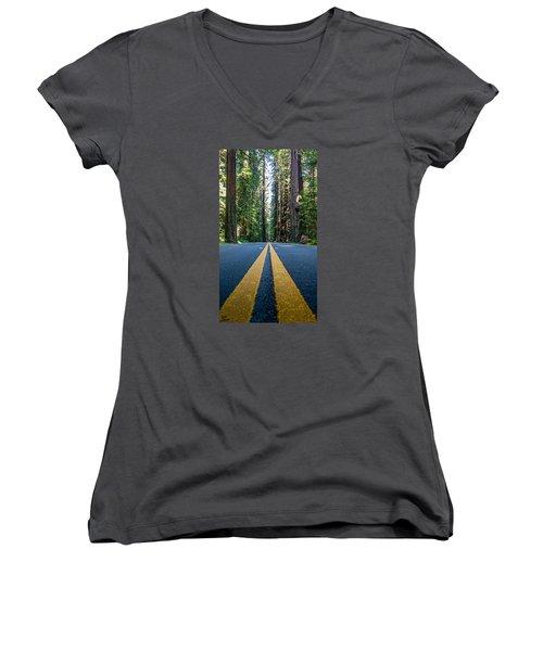 Avenue Of The Giants Women's V-Neck T-Shirt (Junior Cut) by Alpha Wanderlust