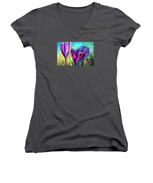 Awakening Women's V-Neck T-Shirt (Junior Cut) by Nancy Cupp