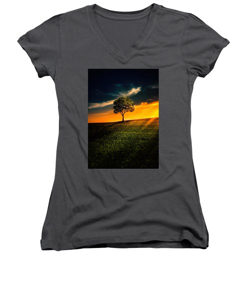 Awesome Solitude II Women's V-Neck T-Shirt (Junior Cut) by Bess Hamiti