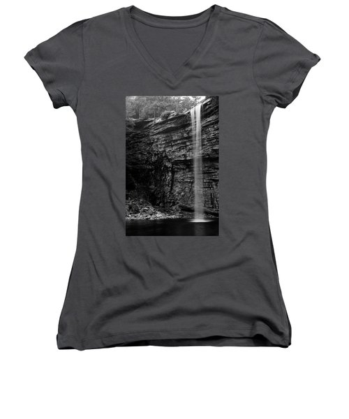 Awosting Falls In Spring #4 Women's V-Neck T-Shirt (Junior Cut) by Jeff Severson