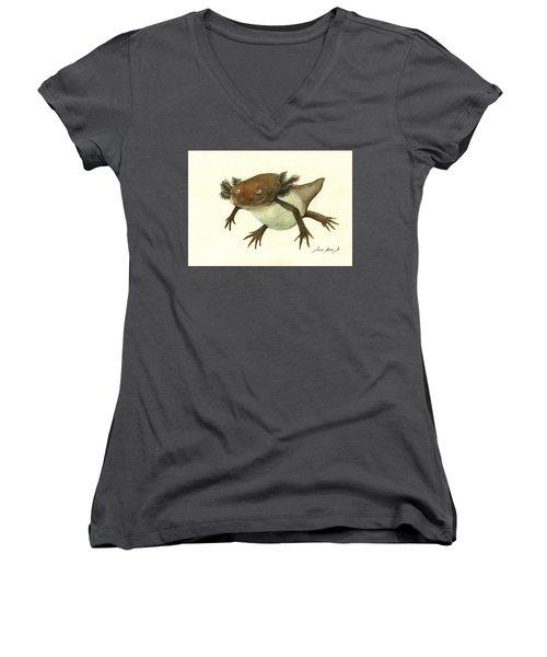 Axolotl Women's V-Neck T-Shirt (Junior Cut) by Juan Bosco