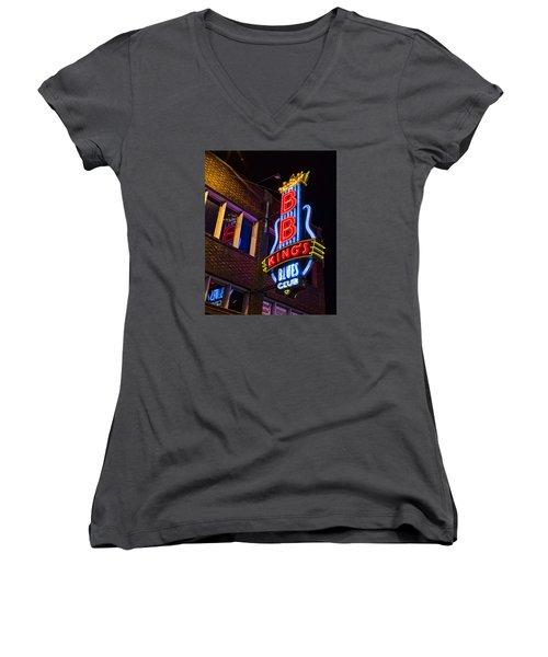 B B Kings On Beale Street Women's V-Neck T-Shirt (Junior Cut) by Stephen Stookey