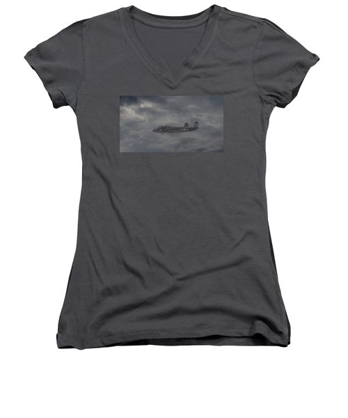 Women's V-Neck T-Shirt (Junior Cut) featuring the digital art B25 - 12th Usaaf by Pat Speirs