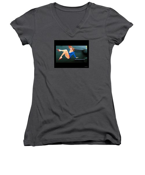 Women's V-Neck T-Shirt (Junior Cut) featuring the photograph Babe On Wwii Bomber The Show Me by Kathy Barney