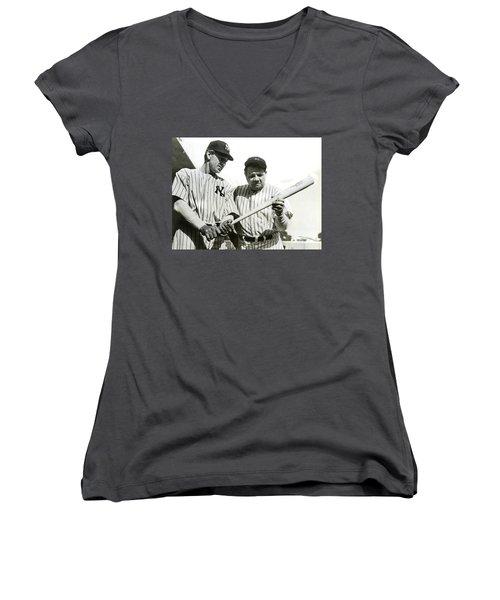 Babe Ruth And Lou Gehrig Women's V-Neck T-Shirt (Junior Cut) by Jon Neidert