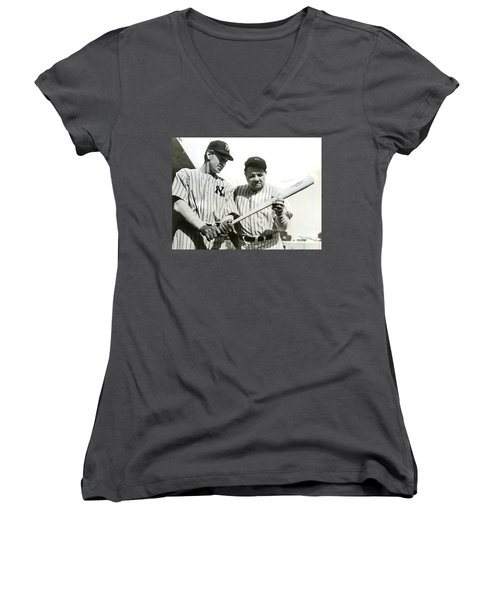 Babe Ruth And Lou Gehrig Women's V-Neck T-Shirt (Junior Cut)