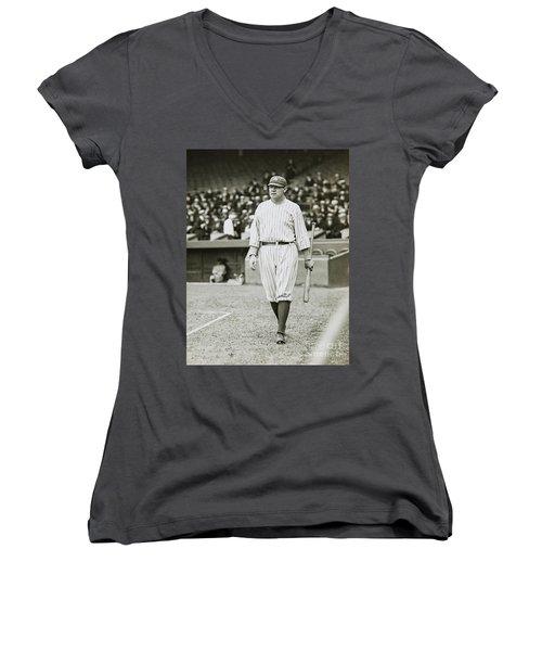 Babe Ruth Going To Bat Women's V-Neck T-Shirt (Junior Cut) by Jon Neidert
