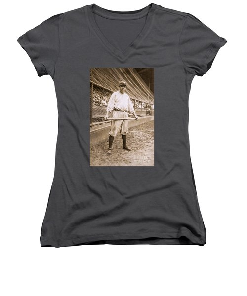 Babe Ruth On Deck Women's V-Neck T-Shirt (Junior Cut) by Jon Neidert