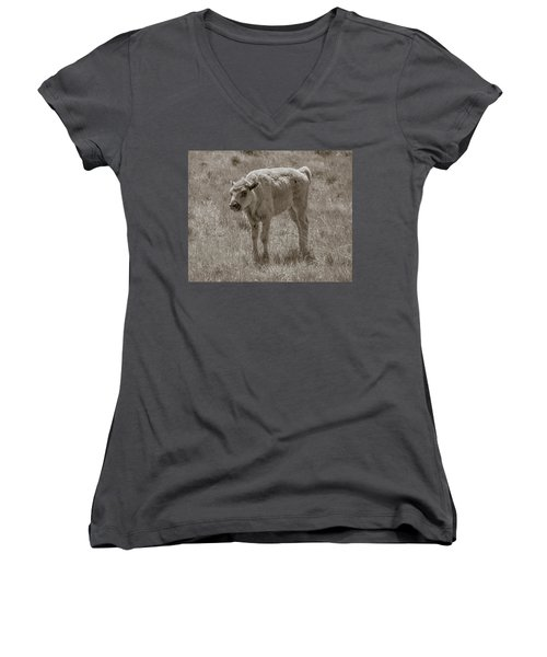 Women's V-Neck T-Shirt (Junior Cut) featuring the photograph Baby Buffalo by Rebecca Margraf