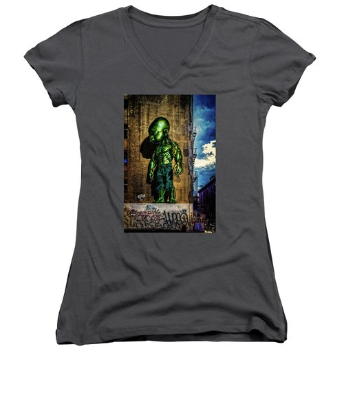 Women's V-Neck T-Shirt (Junior Cut) featuring the photograph Baby Hulk by Chris Lord