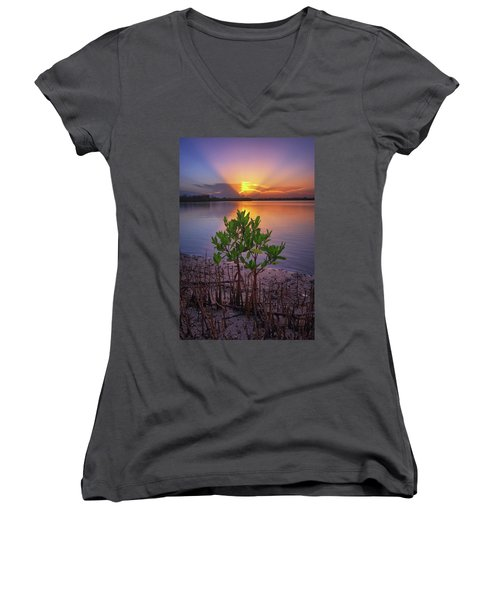 Baby Mangrove Sunset At Indian River State Park Women's V-Neck