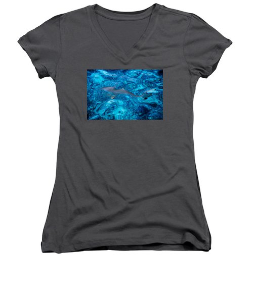 Baby Shark In The Turquoise Water. Production By Nature Women's V-Neck